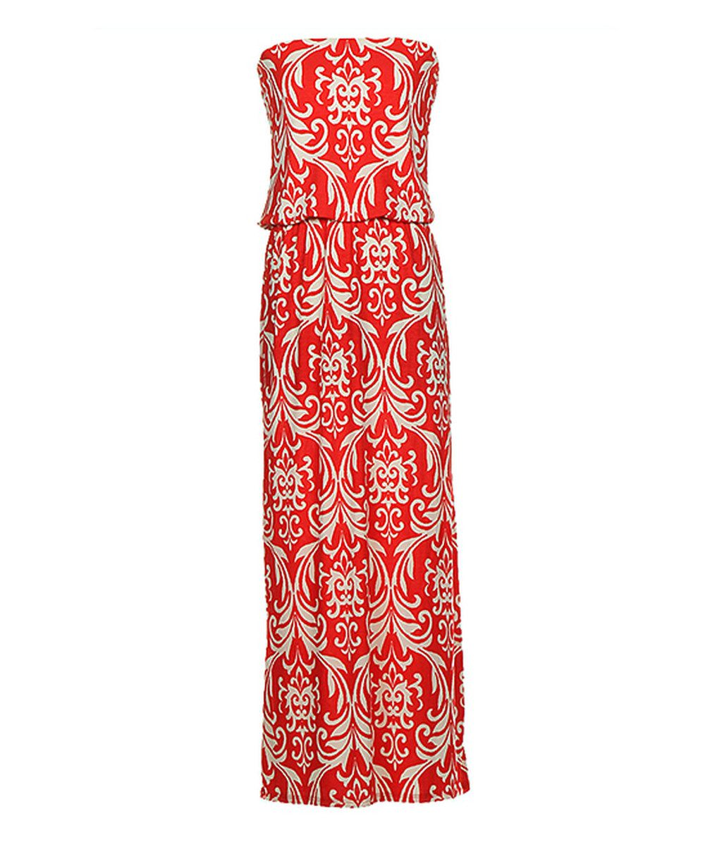 Look at this tomato baroque strapless maxi dress women on zulily