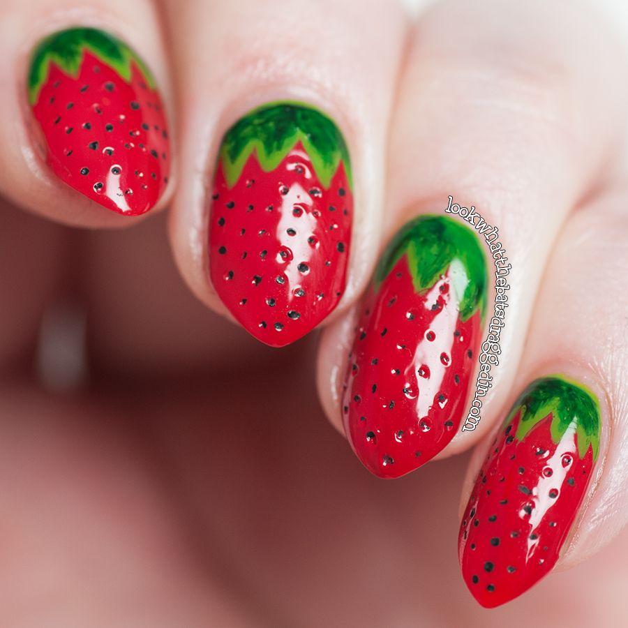Strawberry fruit nail art using Illamasqua nail polishes in Throb,  Ruthless, Smash, Elope and Rampage, inspired by AlpsNailArt - Strawberry Fruit... Nail Art Using Illamasqua Nail Polishes In