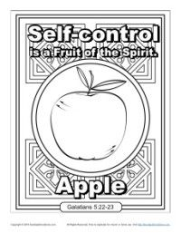 Fruit Of The Spirit Self Control Fruit Coloring Pages