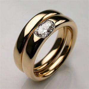 Ring Modern Dainty Elipse Engagement Wedding Set Handmade In 18 Or 14 Carat Yellow Gold