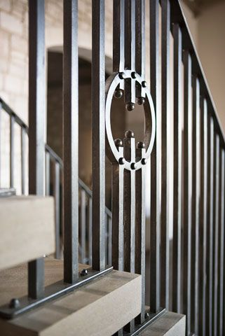 Custom Designed Iron Stair Balusters Limestone Treads By Heirloom