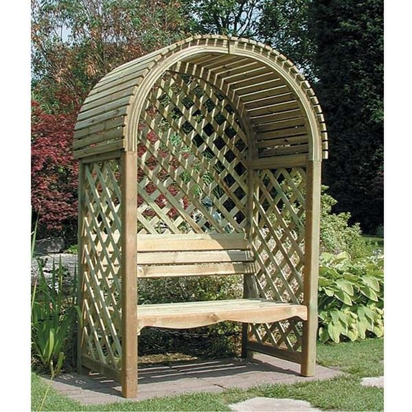 Rowlinson Victoria Wooden Arched Garden Arbour Internet Gardener Wood Arbor Arbor Bench Backyard Seating Area