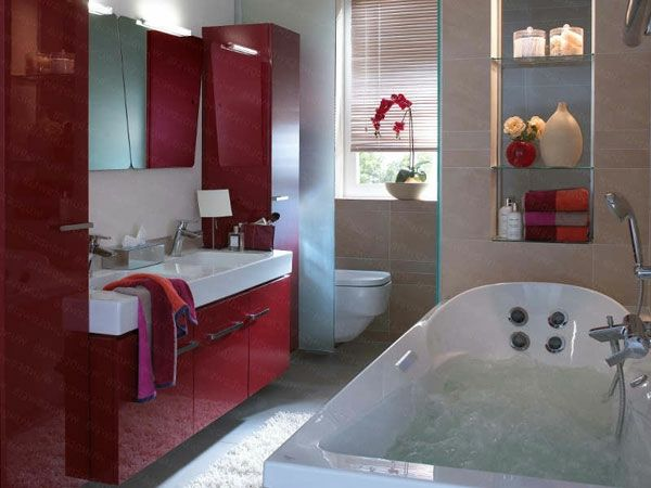Lovely Badezimmer Mit Roten Bademöbeln Ausstatten   77 Badezimmer Ideen Für Jeden  Geschmack Amazing Design