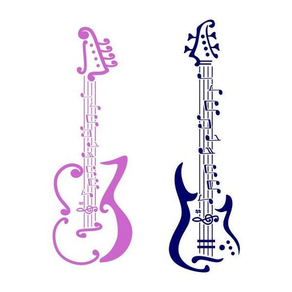 Music Guitar Design SVG PNG DXF & eps Designs Cameo File Silhouette