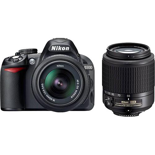 Nikon D3100 Dslr Camera With 18 55mm And 55 200mm Lens Black 13284 Best Buy Latest Digital Camera Nikon D3100 Camera
