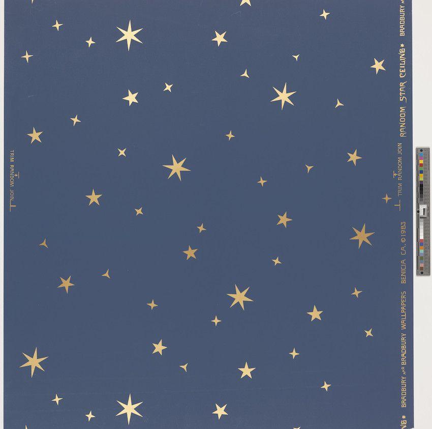 Wallpaper Bradbury Bradbury Manufacturer 1995 35 Gold Star Wallpaper Dark Blue Paint Star Ceiling