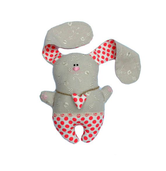 Stuffed bunny toy Easter Bunny. Child friendly handmade plush nursery toy, white red polka dots cloth, lovely gift
