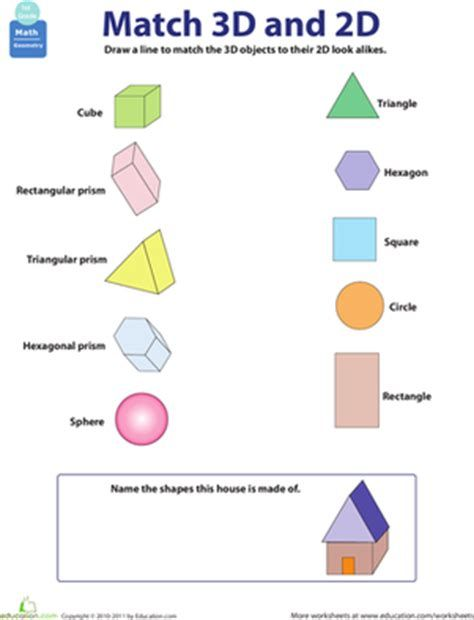 Worksheet Three Dimensional Shapes Math Activities 2d