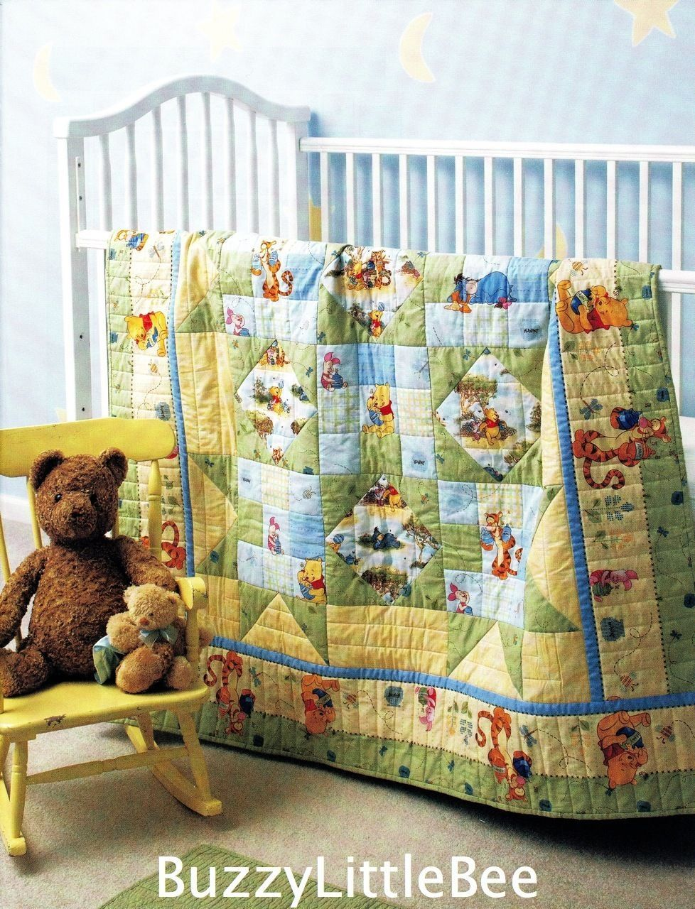 Winnie the pooh toddler bedding - Quilt Pattern Pooh And Friends Uses Winnie The Pooh Printed Fabrics Nursery Crib Ebay