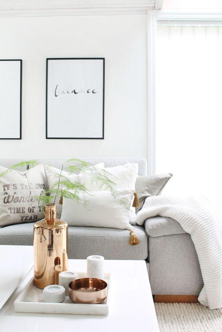 Wohnzimmer Einrichten Dekorieren Weiß Grau Schwarz Gold. Skandinavischer  Wohnstil