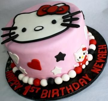 Hello Kitty Round 1st Birthday Cake Nevaeh cakepinscom Desserts