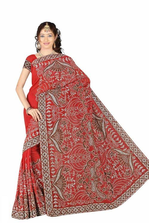 Deveshi Georgette Indian Sari saree with Embroidery