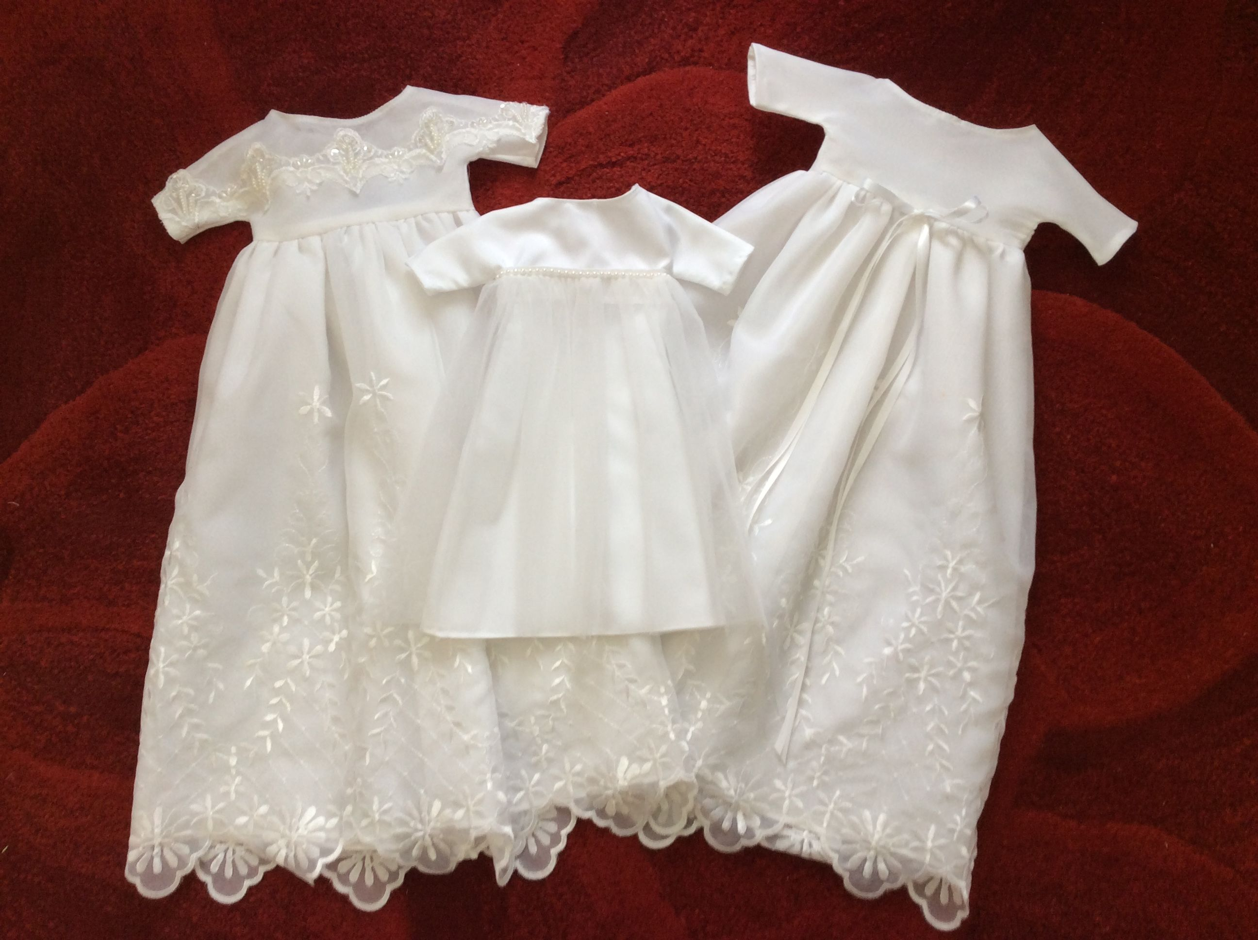 3 gowns made from a communion dress