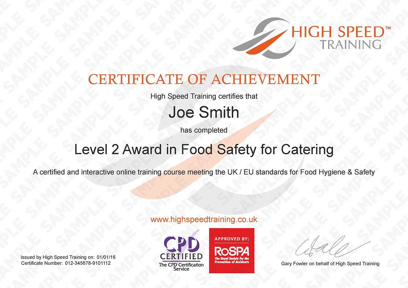 Level 2 Food Hygiene For Catering Example Certificate Food