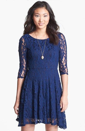 Navy lace dress 3 4 sleeve junior tops | Color dress | Pinterest ...