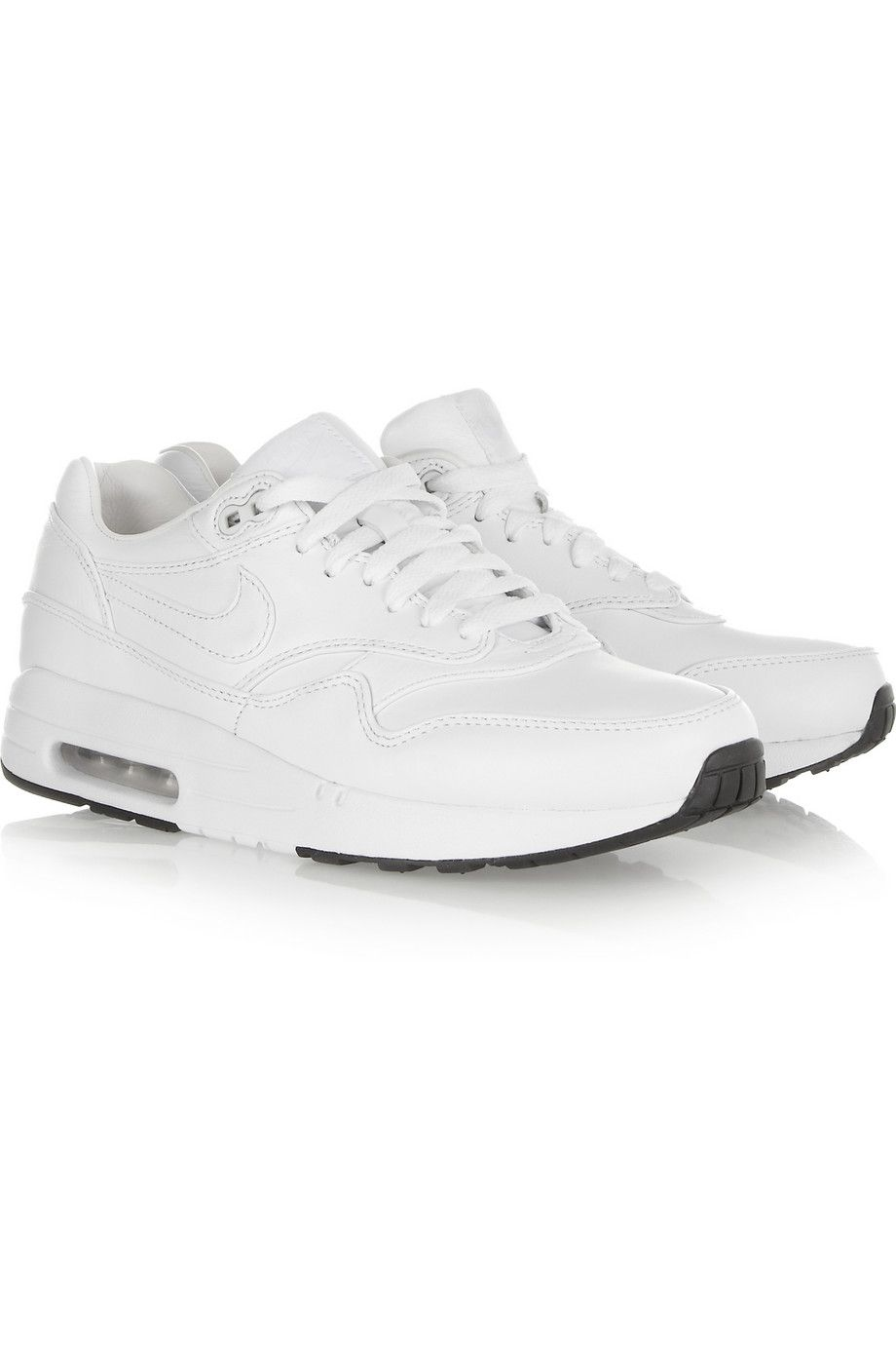 All white Nike Air Max leather sneakers | NET-A-PORTER.COM