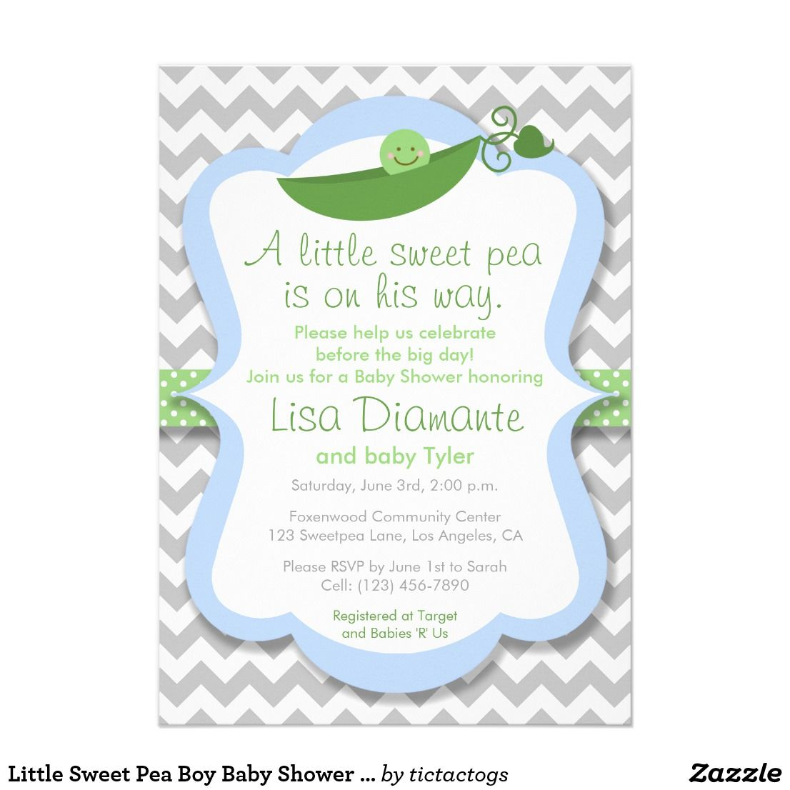 Little Sweet Pea Boy Baby Shower Invitation | Boy baby showers and ...