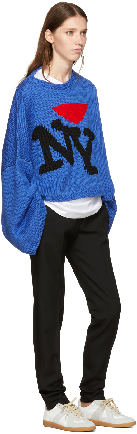 Raf Simons Blue Oversize I Love Ny Sweater Favorite Womenswear