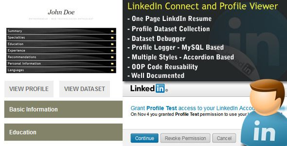 LinkedIn Connect + Profile Dataset+Profile Viewer  One click - resume profile
