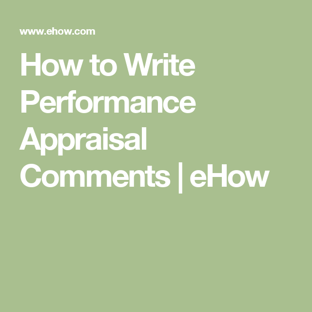 How To Write Performance Appraisal Comments