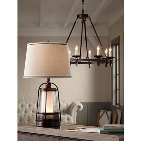 Hugh 26 High Bronze Lantern Table Lamp With Night Light 16g30 Lamps Plus Lantern Table Lamp White Lamp Shade Night Light Night light table lamp