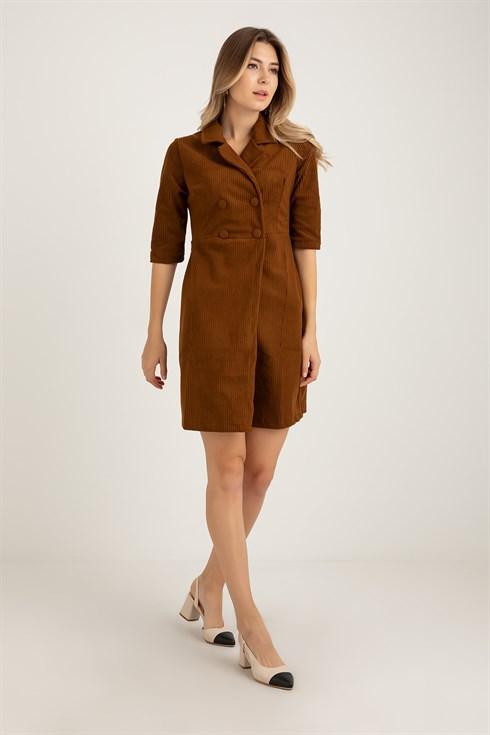 Fitilli Kadife Ceket Elbise Kahverengi 2020 Elbise Kadife Elbise Modelleri