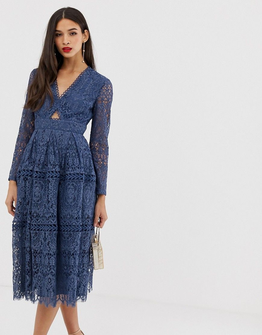 ASOS Lace long sleeve prom dress with cut out-Blue