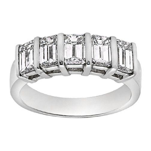 Five Stone Emerald Cut Diamond Platinum Wedding Band 125 Tcw