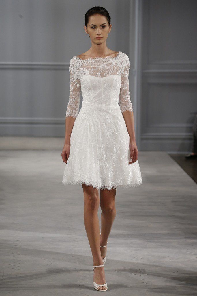 Short Lace Wedding Gown With Bateau Neckline And Three Quarter