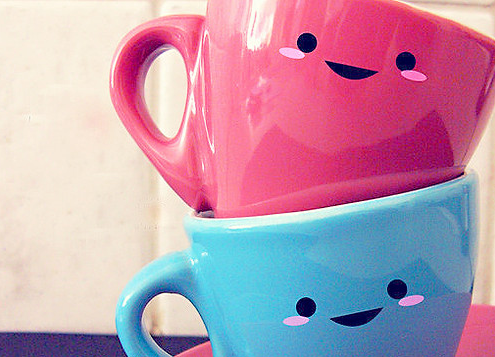happy face tea cups