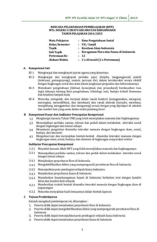 RPP IPS Kurtilas Kelas VII MTs Negeri 3 Cibatu 2014 RENCANA ...