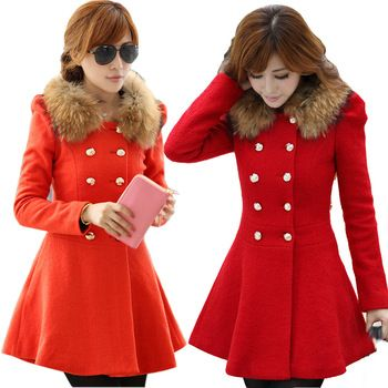 red pea coat with gold buttons | My Style | Pinterest | Coats, The ...