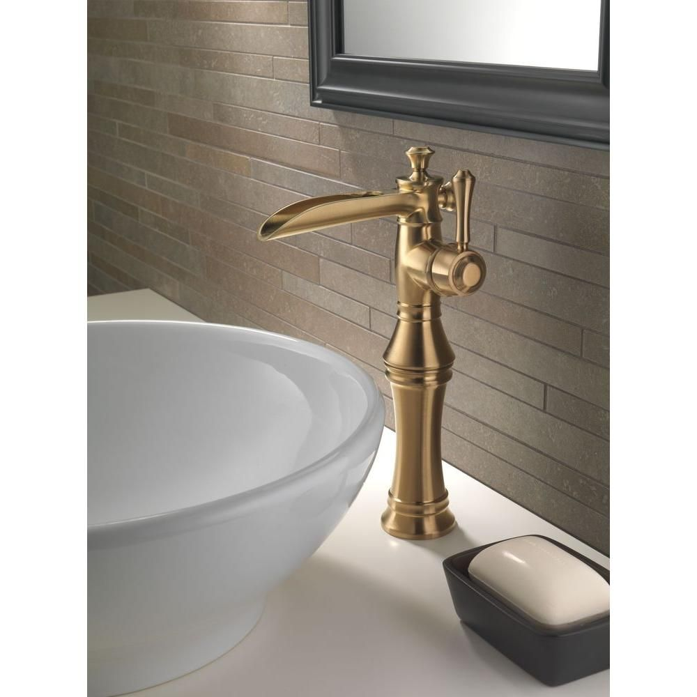 Delta Cassidy Single Hole Single Handle Open Channel Spout Vessel Bathroom Faucet In Champagne Bronze 798lf Cz The Home Depot Bathroom Faucets Waterfall Champagne Bronze Bathroom Bathroom Faucets