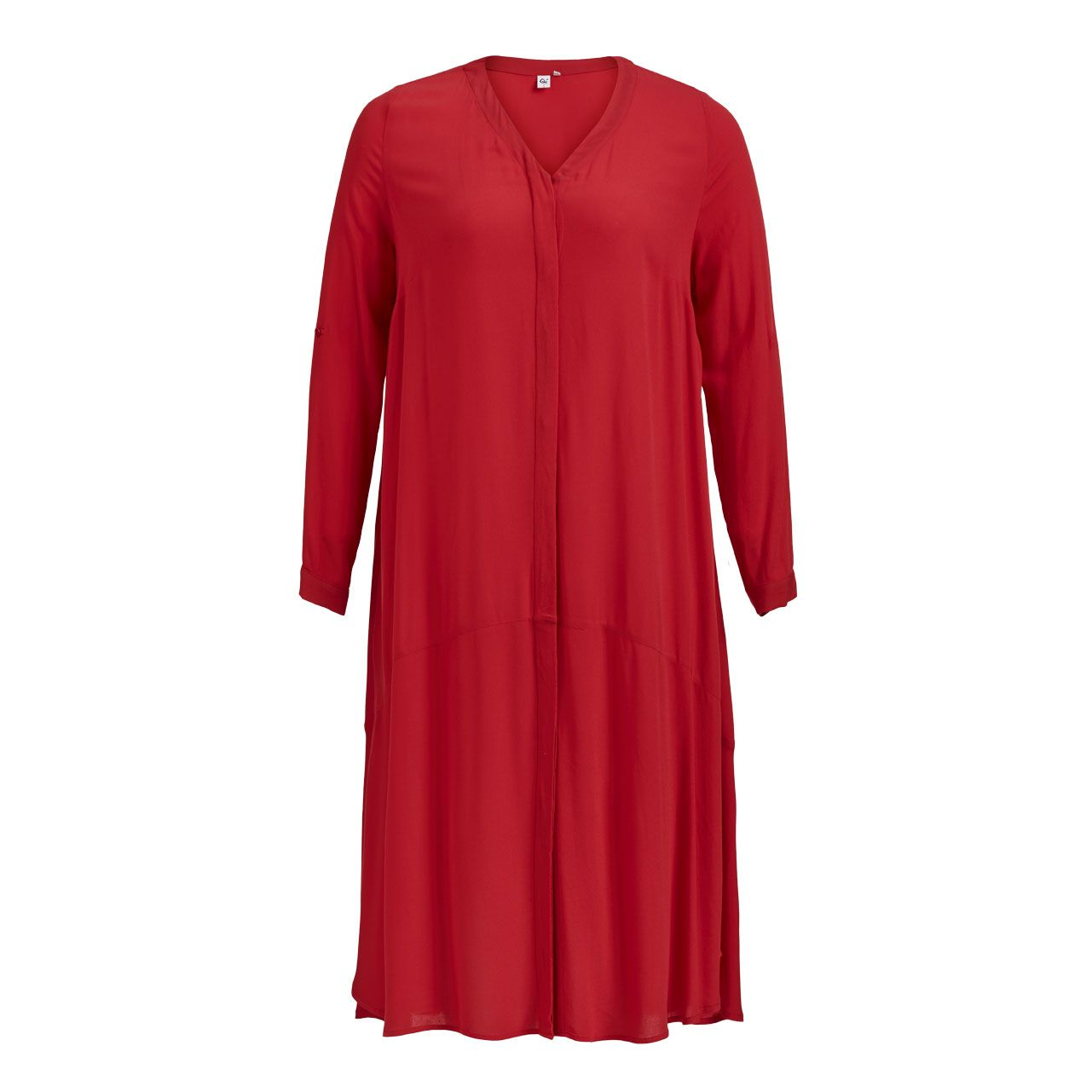 Qúe red shirt dress with long sleeves plus size fashion