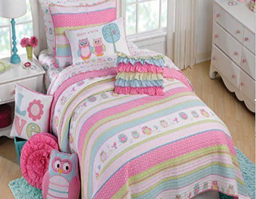 Brandream Pink Polka Dot Stripe Quilt Set Kids Owl Bedding Set Twin