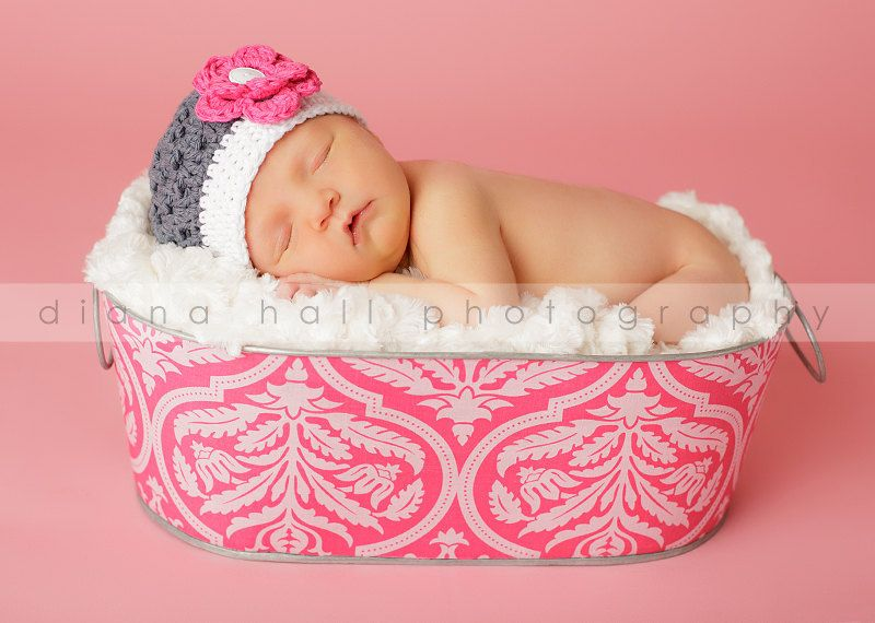 Newborn baby girl photography prop galvanized tub large oblong magenta damask
