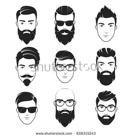 set of vector bearded hipster men faces. haircuts, beards, mustaches