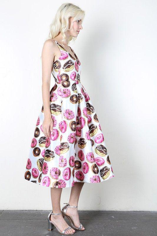 Darling Donut Print Midi Dress V Neckline And Adjustable
