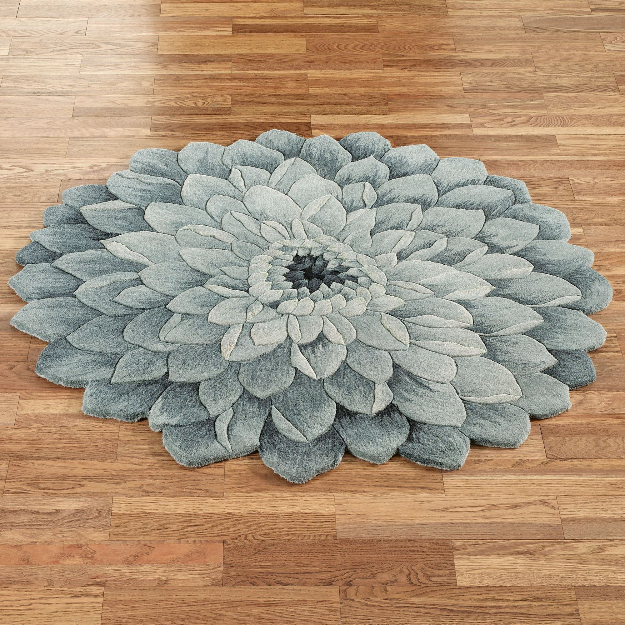 Abby Bloom Blue Flower Shaped Rugs Round Rugs Rounding