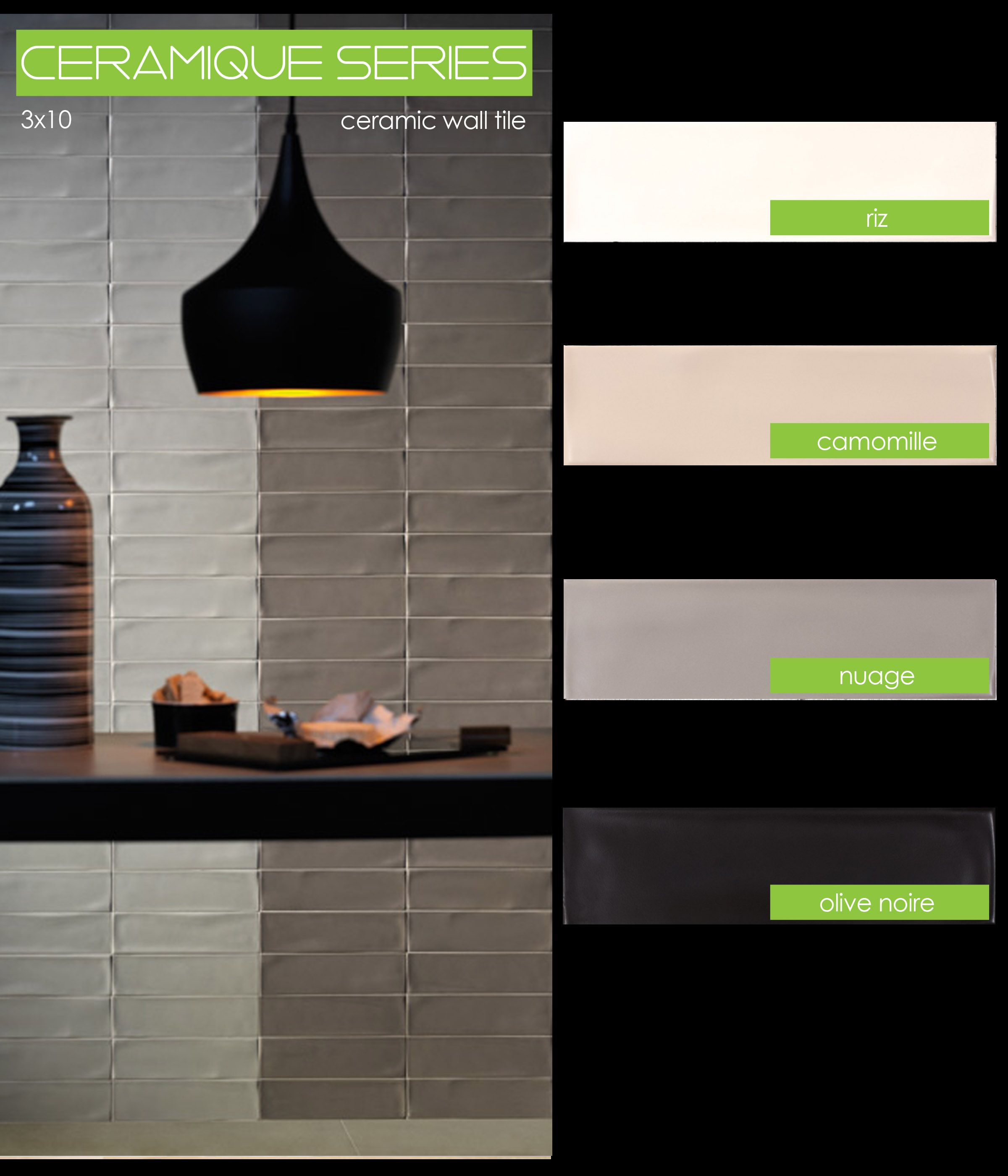 Ceramique Series Ceramic Wall Tile 3x10 Tierra Sol Hand Molded Wall