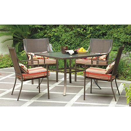 mainstays alexandra square 5 piece patio dining set red stripe with rh pinterest com