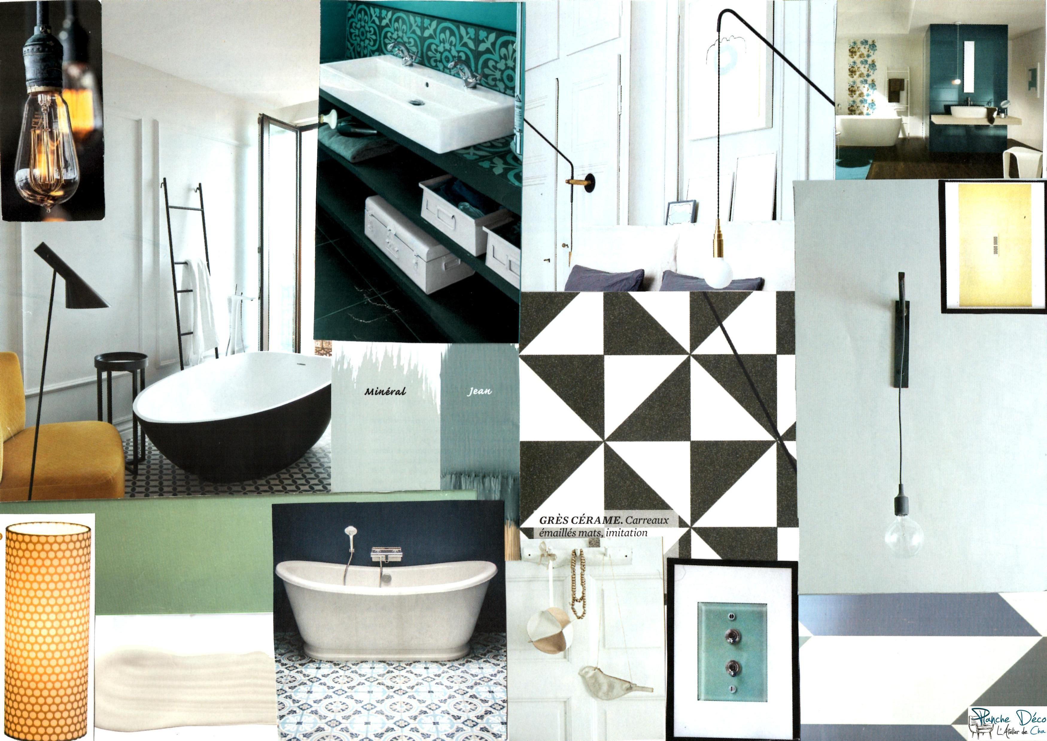Planche d 39 ambiance pour une salle de bain style scandinave ethnique et graphique planche d co - Style de salle de bain ...