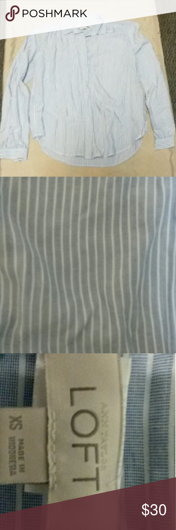 Blue and white striped button up Flowy blue & white button up ann taylor blouse. In great condition, only worn a few times. Ann Taylor Tops Button Down Shirts