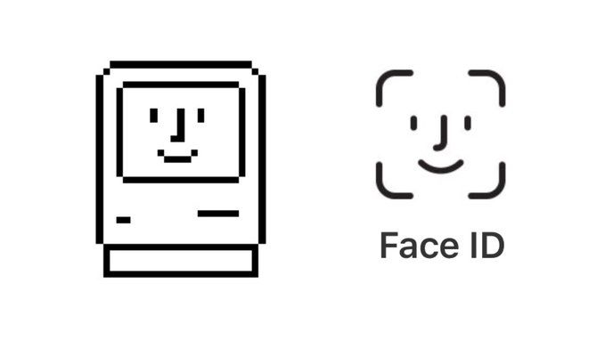 """The Face ID logo is a homage to Susan Kare's 1984 """"Happy"""