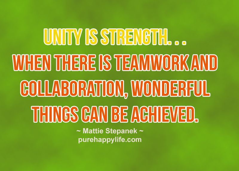 Quote Unity Is Strengthwhen There Is Teamwork Andmore On
