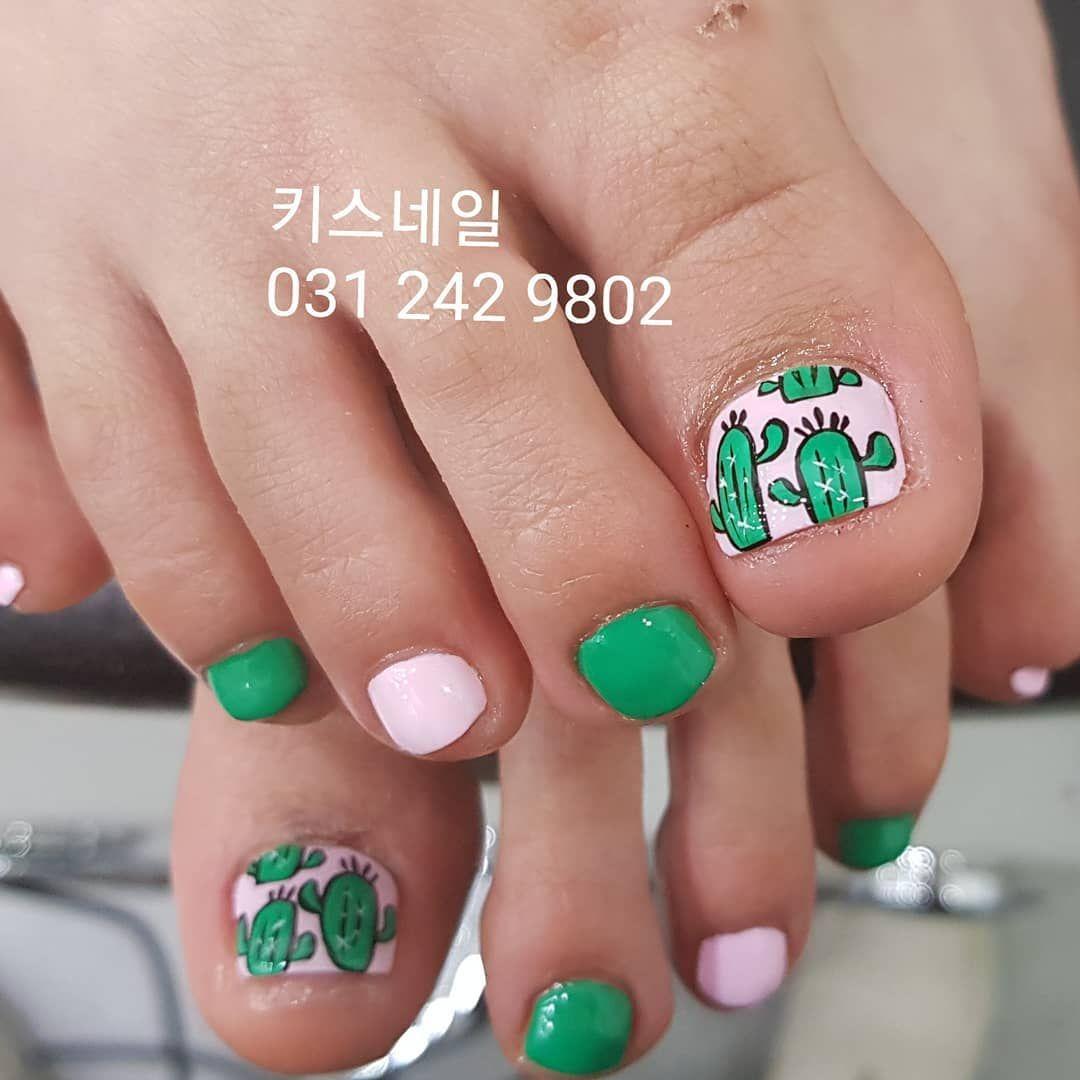 Korean Nail Art Cactus Nails Pedicure Cartoon I Akiwarinda Toe Nail Designs Cute Toe Nails Toe Nail Color