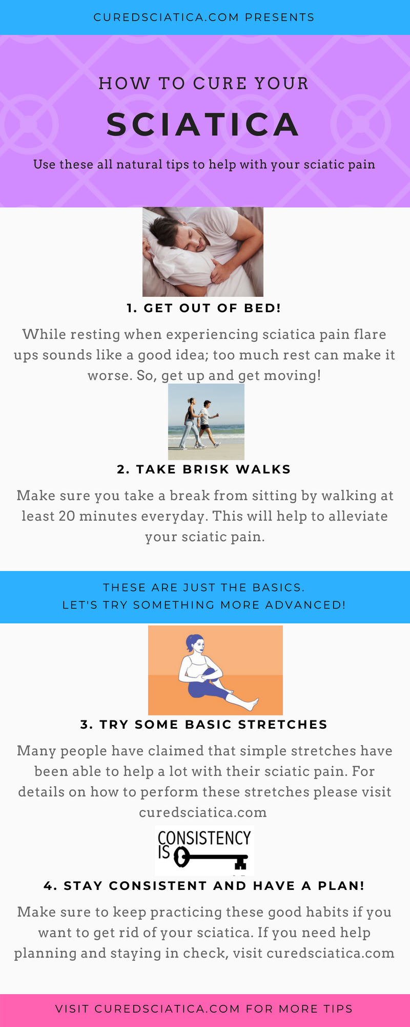 here are some quick tips to help with your sciatica exercises. try