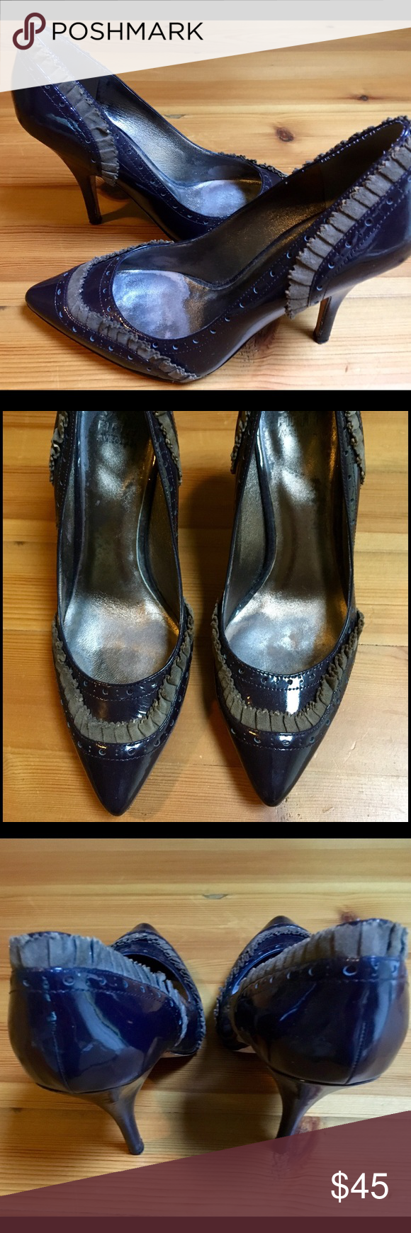 Saks Fifth Avenue Patent Leather Heels Saks Fifth Avenue Patent Leather 5 inch Pumps.  Purple with gray ruffle suede accents.  Wear on bottoms (not seen when worn) size 9 Saks Fifth Avenue Shoes Heels