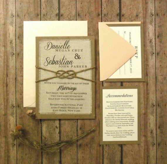 rustic etsy wedding invitation burlap wedding invitations blush
