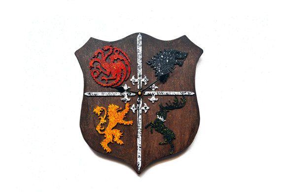 Reloj de pared escudo de Juego de Tronos. Serie. por PepitosAtelier